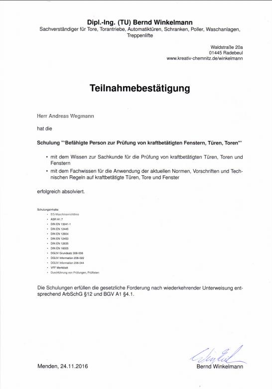 Teilnahmebestätigung Schulung - Schmiede und Schlosserei Wegmann aus Heiligenhaus