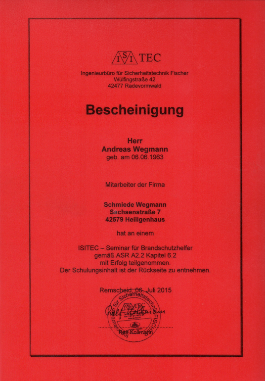 Bescheinigung ISITEC Seminar - Schmiede und Schlosserei Wegmann aus Heiligenhaus
