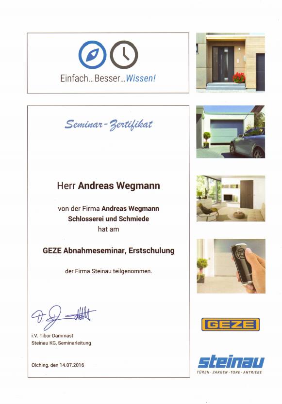 Seminar-Zertifikat GEZE Abnahmeseminar - Schmiede und Schlosserei Wegmann aus Heiligenhaus