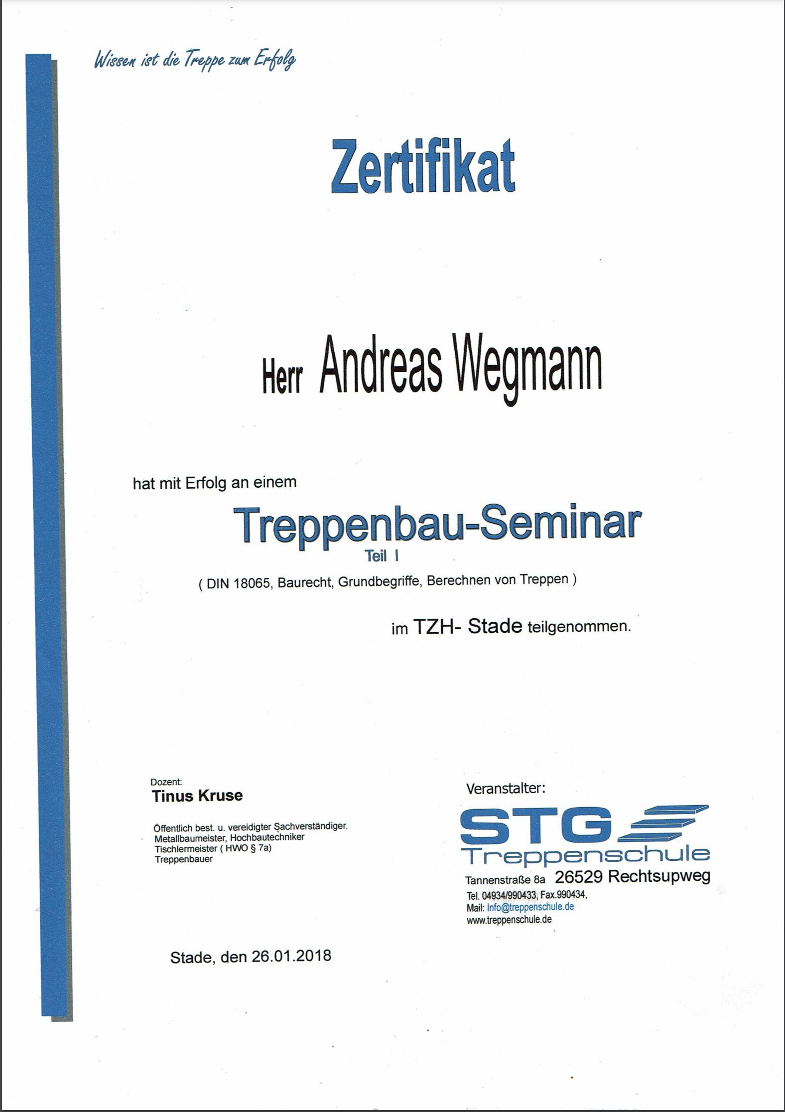 Zertifikat Treppenbau-Seminar - Schmiede und Schlosserei Wegmann aus Heiligenhaus